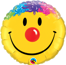 Yellow Smiley Clown Face Foil Balloon